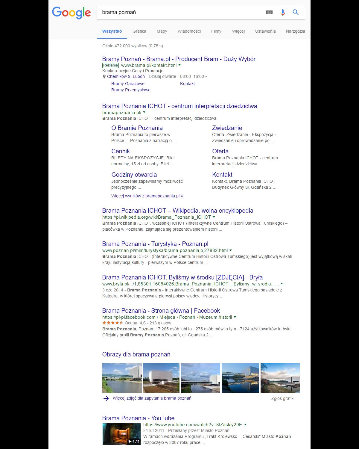 553793647 Wystarczy w takim wypadku wpisać frazę w wyszukiwarkę jako brama Poznań  -muzeum, a w top 10 otrzymamy tylko producentów bram z Poznania.
