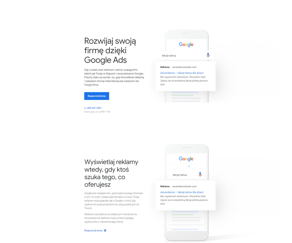 Rejestracja GoogleAds screen