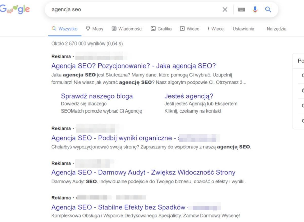 Reklama w wynikach wyszukiwania