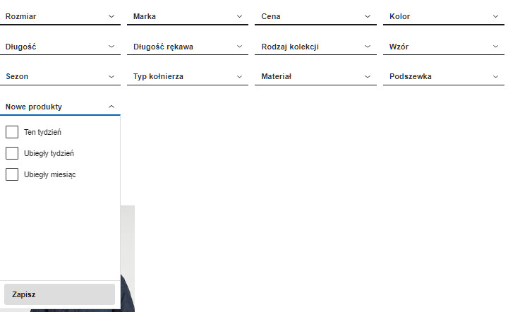 8d1205934d Filtrowanie produktów pozwala na zawężenie listy produktów. Ma to  szczególne znaczenie przy dużej liczbie produktów z kategorii. Źródło   Zalando.pl
