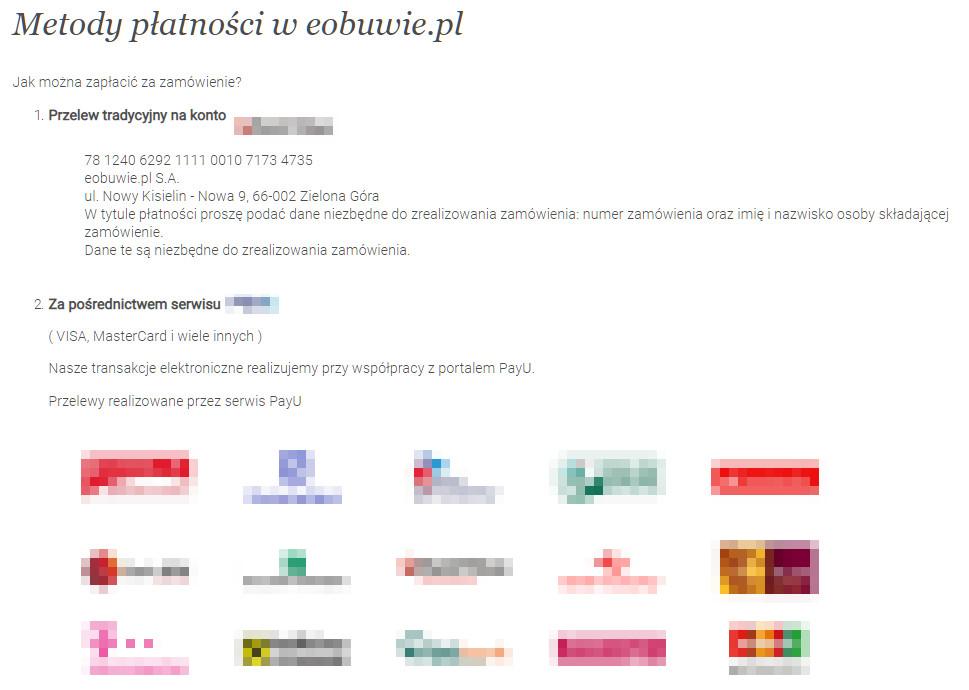 a0792a09d9 Duży wybór płatności to zdecydowany atut sklepu. Źródło  eobuwie.com.pl